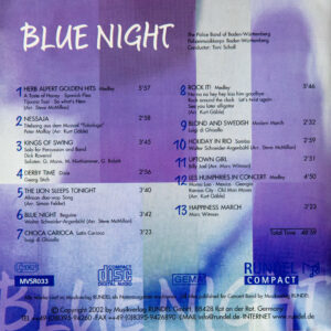 CD Cover Rückseite Blue Night