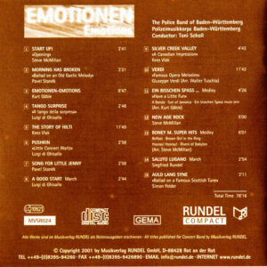 CD Cover Rückseite EMOTIONEN