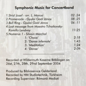 CD Cover Rückseite Symphonic Music for Concert Band